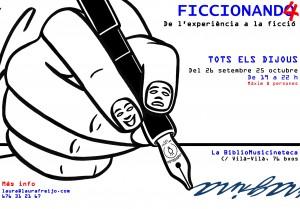 flyer ficcionando four dibujo