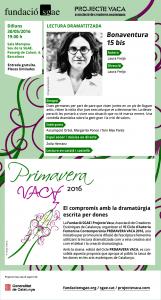 Invitació. Lectura dramatitzada Bonaventura 15 bis, de Laura Freijo. 30 de maig. 19 h SGAE